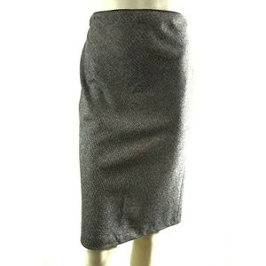 J Crew Brown White Speckled Wool Blend Skirt